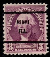 """USA Precancel Vorausentwertung Preo, """"MIAMI"""" (FLA). 3 Cents. - Preobliterati"""