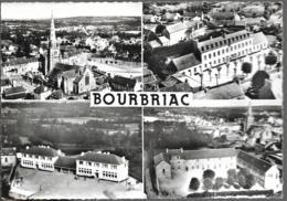 D29 - BOURBRIAC - EN AVION AU-DESSUS DE...BOURBRIAC-CPSM Dentelée Multivues:Vue Générale/L'Ecole Publique De Garçons... - Other Municipalities