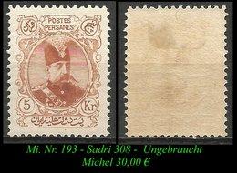 1902-04 - Mi. Nr. 193 - Sadri Nr. 308 - Ungebraucht - Iran