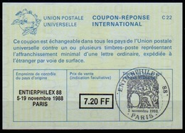 FRANCE La25B  7,20 FF International Reply Coupon Reponse Antwortschein IAS  ENTIERPHILEX PARIS 88  With Special Cancel - Coupons-réponse