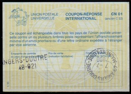 FRANCE La29 Int. Reply Coupon Reponse Antwortschein IRC O ANGERS DOUTRE 49-921 And ANGERS-DOUTRE MAINE ET LOIRE 7.7.2000 - Coupons-réponse