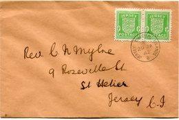 JERSEY OCCUPATION ALLEMANDE LETTRE AFFRANCHIE AVEC UNE PAIRE DU N°1 DEPART JERSEY CHANNEL ISLANDS 29 JA 42 POUR JERSEY - Jersey
