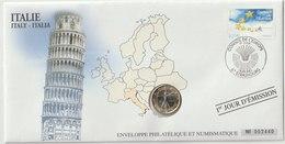 ITALIE - 7 FDC PHILATELIE ET NUMISMATIQUE  - 1€ - 2€ X 6 -  2003/2010 - Italia