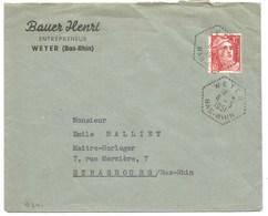 B341 - WEYER - 1951 - Timbre GANDON - Entête BAUER HENRI Entrepreneur - - Marcophilie (Lettres)