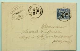 LAC 1882 Rochebelle Près Le Vigan --> St Jean De Bruel (Aveyron), Affr. Sage 15 C, Timbre B2 Boite Rurale - Marcophilie (Lettres)