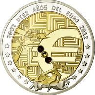 Espagne, Médaille, 10 Ans De L'Euro, Politics, Society, War, 2012, FDC, Copper - Spanje