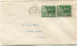 JERSEY OCCUPATION ALLEMANDE LETTRE AFFRANCHIE AVEC 2 X LE  N°3 DEPART JERSEY  1 JUN 1943 POUR JERSEY - Jersey