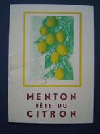BROCHURE Ancienne 1947 : FETE DU CITRON / MENTON / ALPES MARITIMES - Dépliants Touristiques