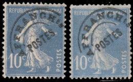 France Préoblitérés 1922. ~ Pr 52 Par 6  - 10 C. Type Semeuse - Préoblitérés