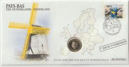 PAYS BAS - 2 FDC PHILATELIE ET NUMISMATIQUE  - 1€ - 2€ X 1 -  2006/2007 - Pays-Bas
