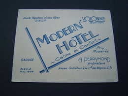 BROCHURE Ancienne 1950 : MODERN HOTEL - PERRYMOND ( WAGONS LITS ) VOLONNE ( ALPES HAUTE PROVENCE ) - Dépliants Touristiques