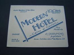BROCHURE Ancienne 1950 : MODERN HOTEL - PERRYMOND ( WAGONS LITS ) VOLONNE ( ALPES HAUTE PROVENCE ) - Tourism Brochures