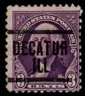 """USA Precancel Vorausentwertung Preo, """"DECATHUR"""" (ILL). 3 Cents. - Preobliterati"""
