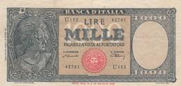 BANCONOTA: REPUBBLICA ITALIANA *1.000 LIRE TESTINA* 18/AGOSTO/1943 - FALSO D'EPOCA, ORIGINALE 100% - LEGGI - 100 Lire