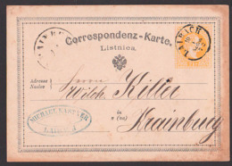 LAIBACH Ljubljana 2 Kreuzer GA 1872  Correspondenz-Karte Listnica - Briefe U. Dokumente