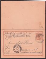 Leitmeritz Litomerice 2 Kreuzer Doppel-GA 1892 Nach Dresden Correspondenz-Karte Mit Adressänderung - 1850-1918 Imperium