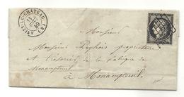 YT#3 Oblitéré GRILLE + CàD Type 15 D'Anizy Le Chateau (Aisne). Lettre Signée BAUDOT. Indic 18 = 340 Euros - 1849-1850 Cérès