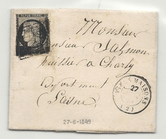 YT#3 Oblitéré GRILLE + CàD Type 15 De Viels Maisons (Aisne). Indic 20 = 500 Euros - 1849-1850 Cérès