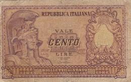 BANCONOTA: CENTO LIRE ELMATA REPUBBLICA ITALIANA - 31 DICEMBRE 1951 - ORIGINALE 100% - LEGGI - 100 Lire