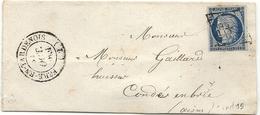 YT#4 Oblitéré GRILLE + CàD Type 14 De Fere En Tardenois (Aisne). Indice 15 = 160 Euros - 1849-1850 Cérès