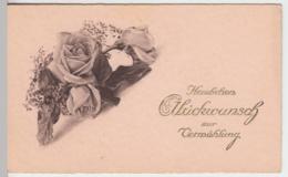 (9296) Glückwunschkarte Hochzeit, Rosen, Vor 1945 - Hochzeiten