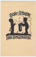 (10596) AK Scherenschnitt Geburtstag, Musikanten 1942 - Scherenschnitt - Silhouette