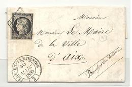 YT#3 Oblitéré GRILLE + CàD Type 14 De FERE EN TARDENOIS (Aisne). Indice 16 = 190 Euros - 1849-1850 Cérès
