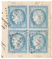 TIMBRE 60/1   ;BLOC DE 4 TRÈS BIEN CENTRÉS 76/77 Et 86/87 A2 ;TRÈS RARE. À TROUVER; TTB - 1871-1875 Cérès