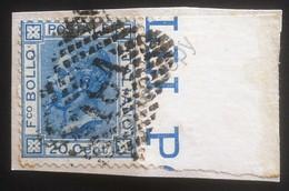 Italia Regno - 20c Vittorio Emanule II Su Frammneto - Annullo Numerale Barre 181 - Ohne Zuordnung