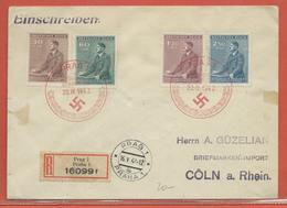 BOHEME ET MORAVIE LETTRE RECOMMANDEE DE 1942 DE PRAGUE POUR COLOGNE ALLEMAGNE - FDC