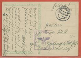 ALLEMAGNE CARTE EN FRANCHISE DE 1942 DE PADERBORN - Occupation 1938-45