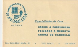 1987 Pocket Calendar Calandrier Calendario Portugal Restaurante Restaurant O Pereira Lisboa - Calendars