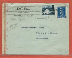 CROATIE LETTRE CENSUREE DE 1943 DE ZAGREB POUR THANN ALSACE - Croatie