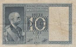 BANCONOTA: 10 LIRE, IMPERO BIGLIETTO DI STATO, VITTORIO EMANUELE III, 1939-XVIII - ORIGINALE 100% - LEGGI - [ 2] 1946-… : Repubblica