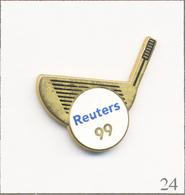 Pin's Sport - Golf / Couverture Par L'Agence De Presse Reuters 1999. Estampillé Coinderoux. Zamac. T719B-24 - Golf