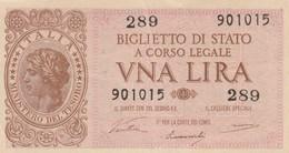 BANCONOTA: VNA UNA LIRA BIGLIETTO DI STATO A CORSO LEGALE - 23 NOVEMBRE 1944 - ORIGINALE 100% - LEGGI - [ 2] 1946-… : Repubblica