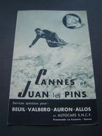 DEPLIANT TOURISME Ancien 1940: AUTOCARS SNCF - CANNES / SPORTS D' HIVER / BEUIL / VALBERG / AURON / ALLOS - Dépliants Touristiques