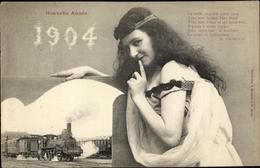 Passepartout Cp Glückwunsch Neujahr, Jahreszahl 1904, Französische Eisenbahn, Dampflok, Etat 2610 - Anno Nuovo