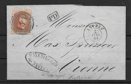 OBP16A Op Brief Uit 1865 Vanuit Anvers Naar Vienne (Oostenrijk) Met Doorgangst. Vervier A Coeln En Aankomststempel - 1863-1864 Medallions (13/16)