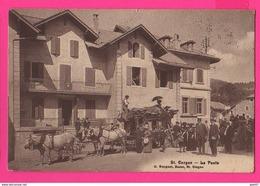 CPA (Réf: Z 2394) St-Cergue (SUISSE) La Poste (animée, Diligence Attelage Chevaux, Malle Postale - VD Vaud