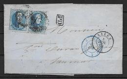 OBP15A (2x) Op Brief Uit 1863 Vanuit Liege Naar Saumur (Frankrijk) Met Doorgangst Belg. Erquelines 2 En Aankomststempel - 1863-1864 Medallions (13/16)