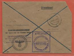 POLOGNE GOUVERNEMENT GENERAL LETTRE DE SERVICE DE 1943 DE RADOM POUR KIELCE - Governo Generale