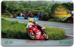 Isle Of Man - Chip - 2000 Magic Moments - Joey Dunlop OBE 1998 - 33U, 2001, 10.000ex, Used - Man (Eiland)