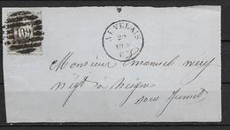 OBP14A Op Brieffragment Uit 1865 Vanuit Auvelais (P199 8B) Naar Neigne Sous Jumet - 1863-1864 Médaillons (13/16)