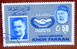 1966 SHARJAH Khor Fakkan President Lyndon B. Johnson, USA 50np - Usato - Sharjah