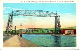 Minnesota Duluth Aerial Lift Bridge And Ship Canal Entrance To Duluth-Superior Harbor Curteich - Duluth