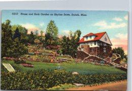 Minnesota Duluth House And Rock Garden On Skyline Drive Curteich - Duluth