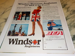 ANCIENNE PUBLICITE EN VACANCE WINDSOR AIR FRANCE BEA 1969 - Publicités