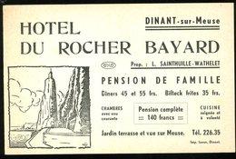 Dinant Sur Meuse Hotel Du Rocher Bayard Carte De Visite Sainthuille Wathelet Pension De Famille 9x14 Cm - Cartes De Visite