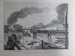 Gravure  1888  Incendie De La Gare De NIMES    Pompier - Non Classés